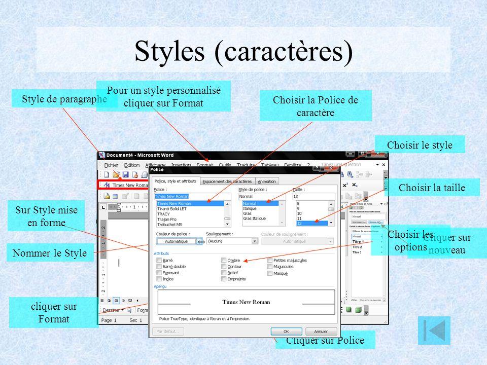 Styles Un style définit les caractéristiques d un titre, sous-titre, paragraphe etc… On peut utiliser des styles prédéfinis ou créer ses propres styles.