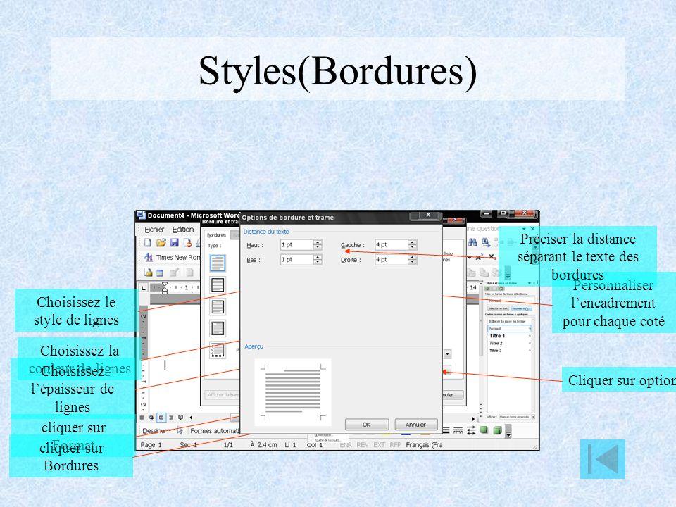 Styles(Tabulation) cliquer sur Format cliquer sur Tabulations