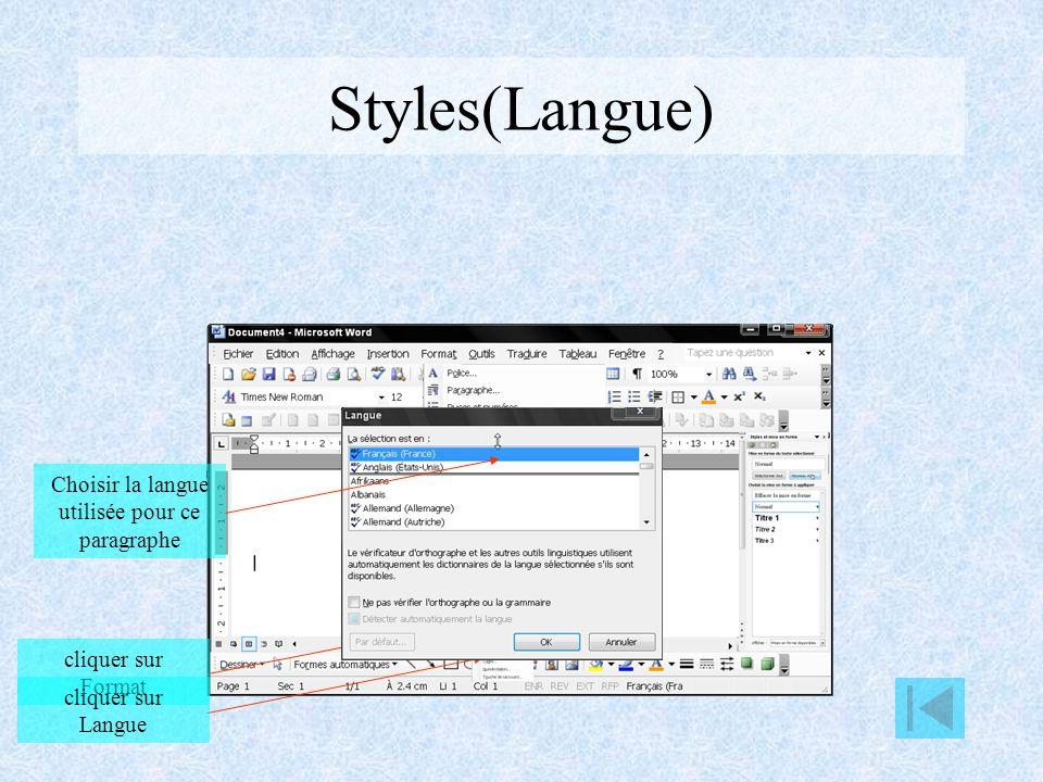 Styles(Bordures) cliquer sur Format cliquer sur Bordures Choisissez le style de lignes Choisissez la couleur de lignes Choisissez lépaisseur de lignes Personnaliser lencadrement pour chaque coté Cliquer sur option Préciser la distance séparant le texte des bordures