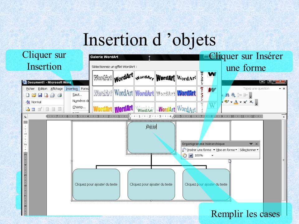 Insertion d objets Un objet peut être un dessin, une photo, un graphique, en règle générale il s agit d un élément qui a été créé par un autre logiciel.