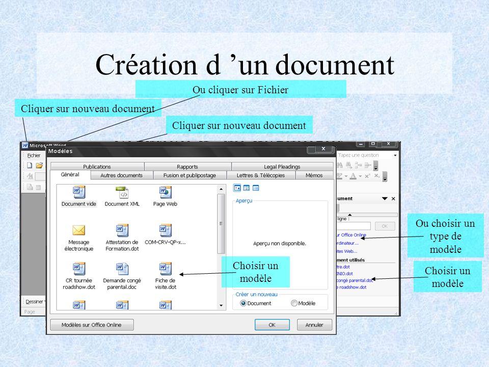 SOMMAIRE Création d un document Présentation des outils de mise en page Utilisation des tableaux Correction du texte Publipostage Créer un modèle Personnaliser Word et gérer les fichiers