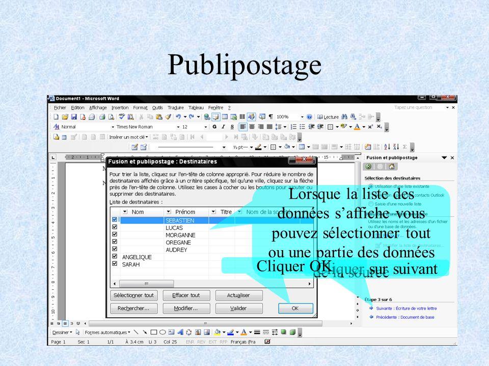Publipostage Cliquer sur Parcourir Sélectionner une source de données Ou créer une nouvelle source Pour une source à partir d un document office cliquer sur DSN ODBC Puis sur suivant Sélectionner à quel programme appartiennent vos données Cliquer sur suivant Pour selectionner le fichier contenant la source