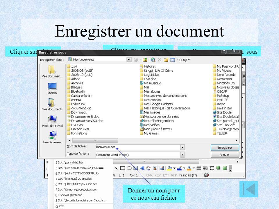 Création d un document Cliquer sur nouveau document Ou cliquer sur Fichier Cliquer sur nouveau document Choisir un modèle Ou choisir un type de modèle Choisir un modèle