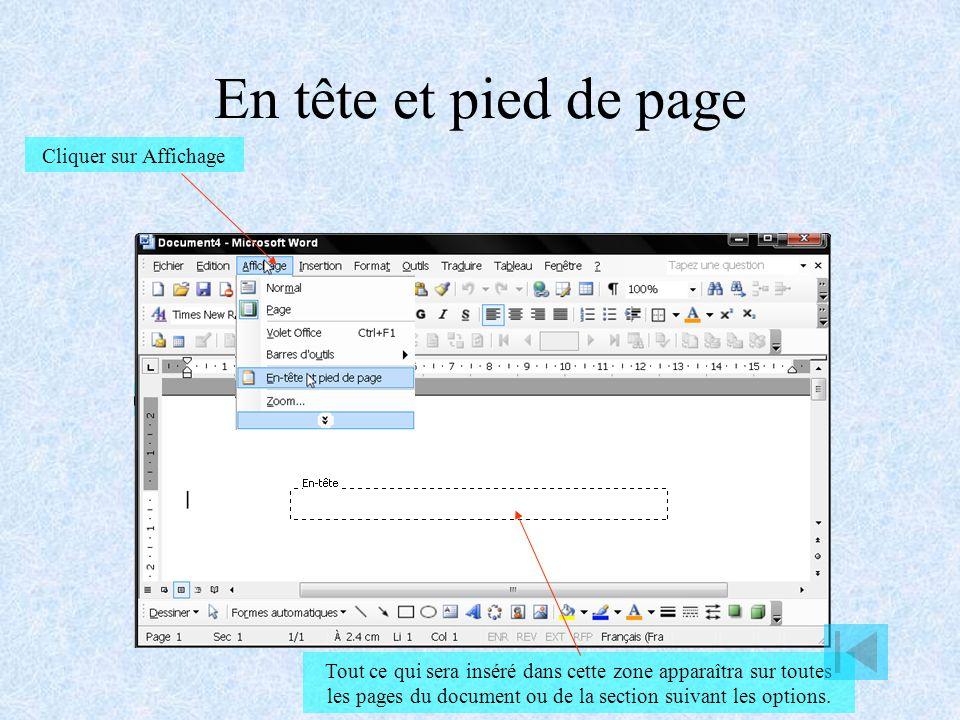 Mise en page Cliquer sur Fichier Cliquer sur Mise en page Régler les marges Préciser lorientation de la page Position de la reliure Important en cas de recto verso Cliquer sur Papier Sélectionner le format du papier (A4 par défaut) Cliquer sur Disposition Configurer les en-tête et pied de page
