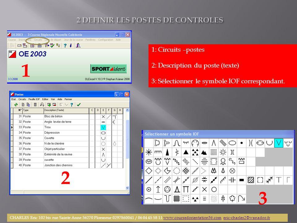 1: Circuits –postes 2: Description du poste (texte) 3: Sélectionner le symbole IOF correspondant. 1 2 3 CHARLES Eric 102 bis rue Sainte Anne 56270 Plo