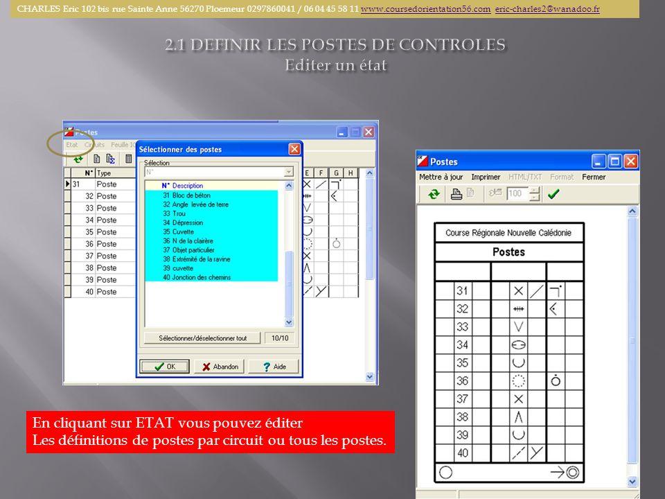 En cliquant sur ETAT vous pouvez éditer Les définitions de postes par circuit ou tous les postes. CHARLES Eric 102 bis rue Sainte Anne 56270 Ploemeur