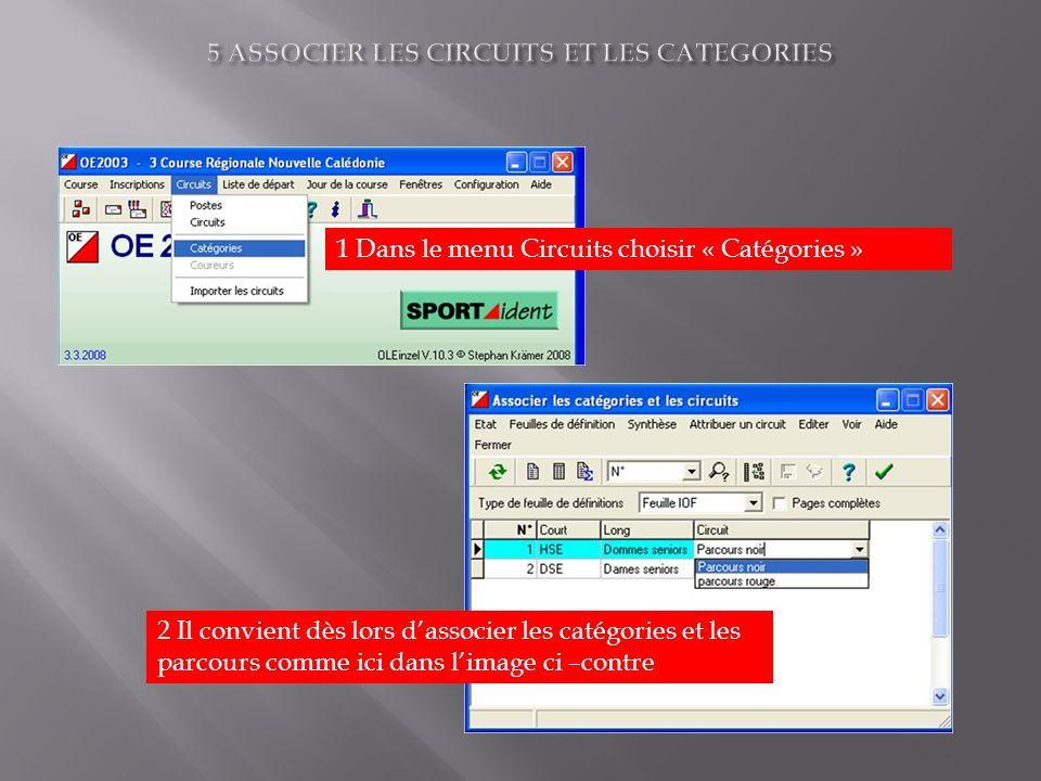 1 Dans le menu Circuits choisir « Catégories » 2 Il convient dès lors dassocier les catégories et les parcours comme ici dans limage ci –contre