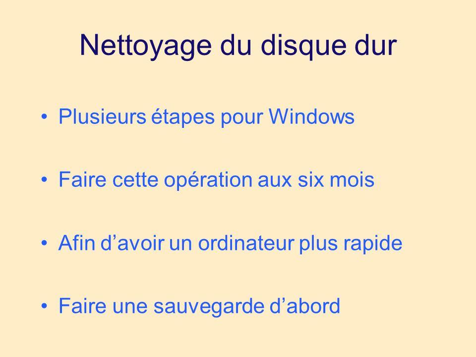 Nettoyage du disque dur Plusieurs étapes pour Windows Faire cette opération aux six mois Afin davoir un ordinateur plus rapide Faire une sauvegarde dabord Sur un Mac, presque rien à faire