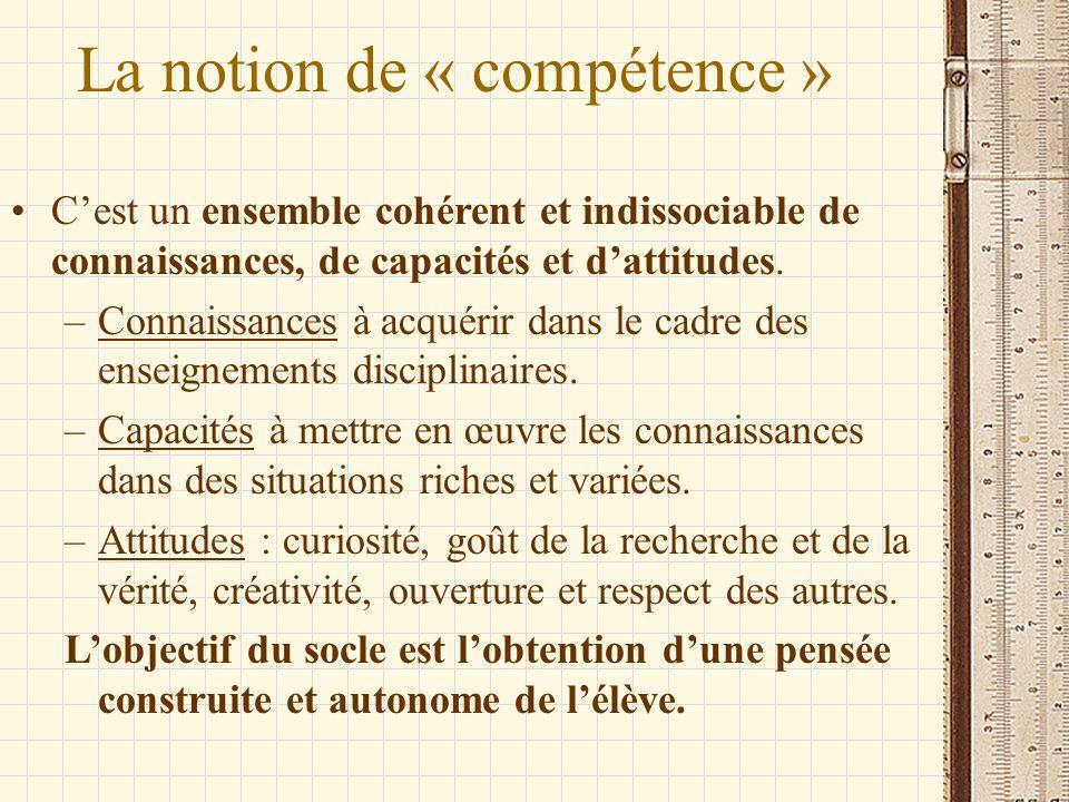 La notion de « compétence » Cest un ensemble cohérent et indissociable de connaissances, de capacités et dattitudes. –Connaissances à acquérir dans le