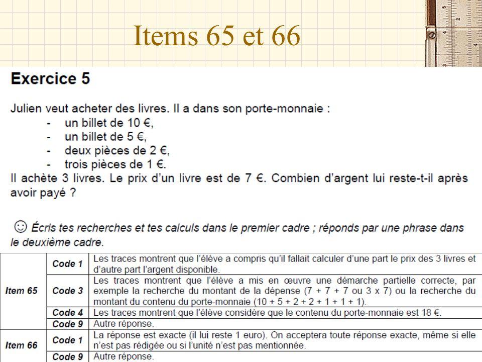 Items 65 et 66