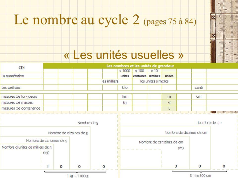 Le nombre au cycle 2 (pages 75 à 84) « Les unités usuelles »