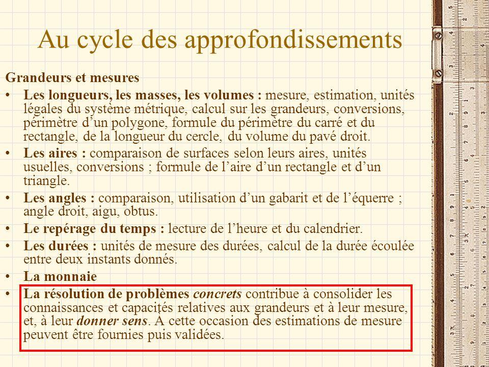Au cycle des approfondissements Grandeurs et mesures Les longueurs, les masses, les volumes : mesure, estimation, unités légales du système métrique,