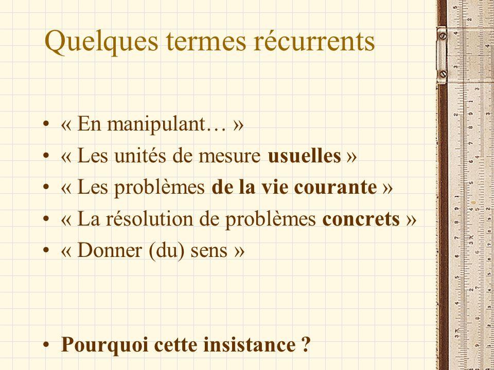 Quelques termes récurrents « En manipulant… » « Les unités de mesure usuelles » « Les problèmes de la vie courante » « La résolution de problèmes conc