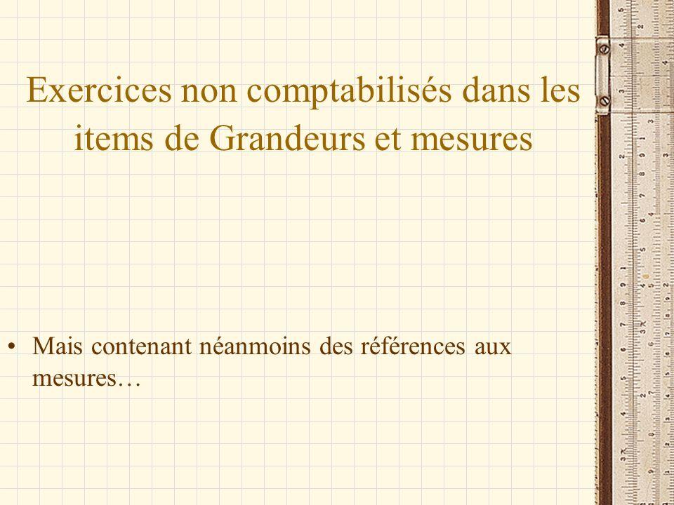 Exercices non comptabilisés dans les items de Grandeurs et mesures Mais contenant néanmoins des références aux mesures…