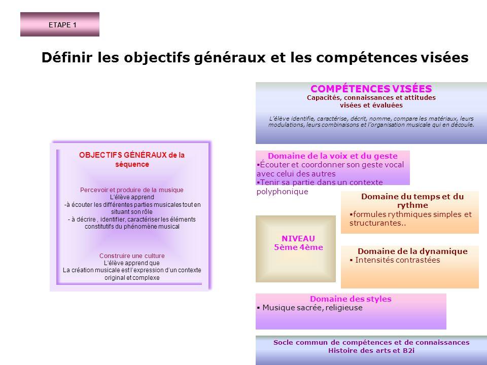 ETAPE 1 Définir les objectifs généraux et les compétences visées OBJECTIFS GÉNÉRAUX de la séquence Percevoir et produire de la musique L'élève apprend