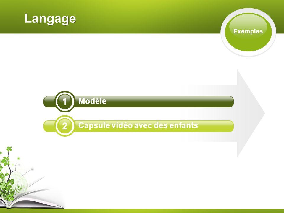 Langage Exemples 2 1 Modèle Capsule vidéo avec des enfants