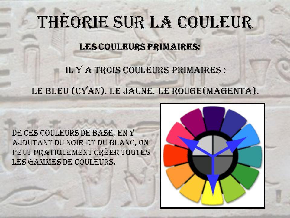 Théorie sur la couleur Les couleurs primaires: IL y a trois couleurs primaires : Le bleu (cyan). Le jaune. Le rouge(magenta). De ces couleurs de base,