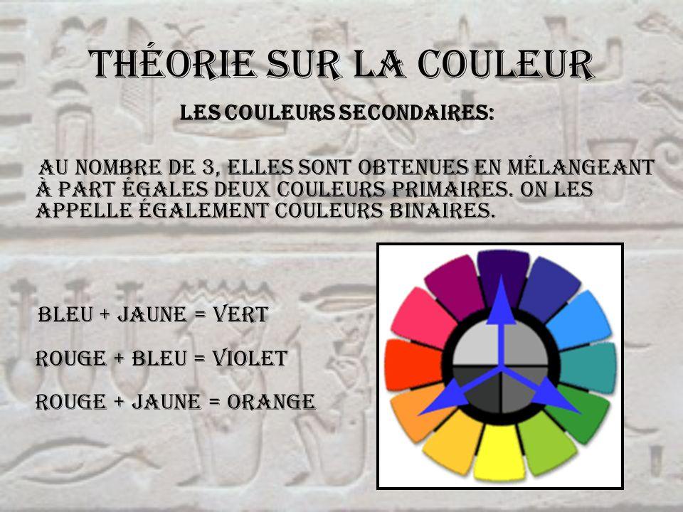 Théorie sur la couleur Les couleurs secondaires: Au nombre de 3, elles sont obtenues en mélangeant à part égales deux couleurs primaires. On les appel