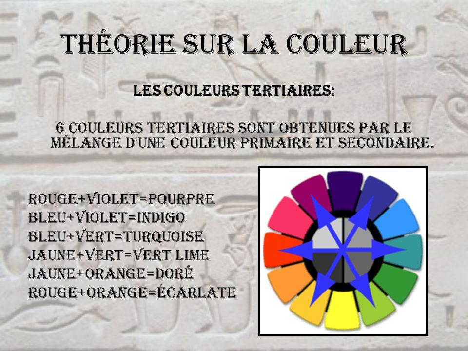 Théorie sur la couleur Les couleurs tertiaires: 6 couleurs tertiaires sont obtenues par le mélange d'une couleur primaire et secondaire. rouge+violet=