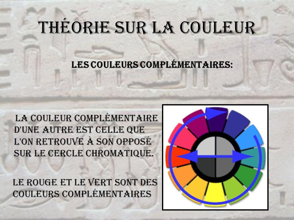 Théorie sur la couleur La couleur complémentaire d'une autre est celle que l'on retrouve à son opposé sur le cercle chromatique. Les couleurs compléme