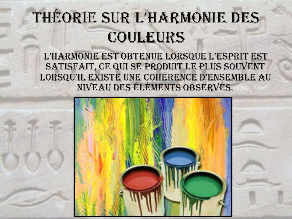 Théorie sur lharmonie des couleurs Lharmonie est obtenue lorsque lesprit est satisfait, ce qui se produit le plus souvent lorsquil existe une cohérenc