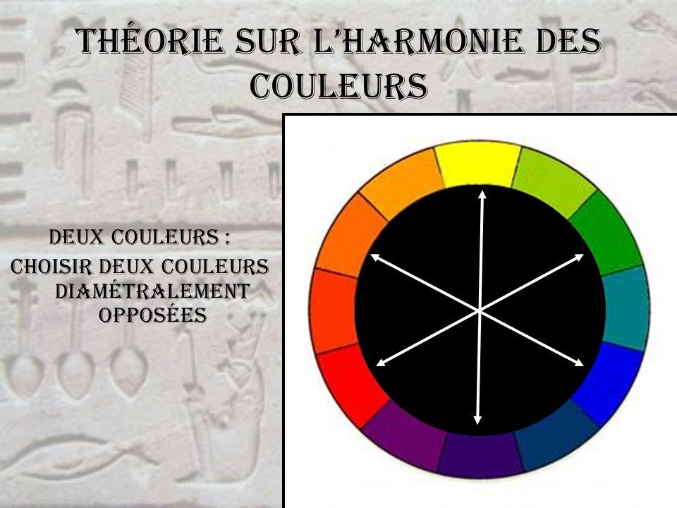 Théorie sur lharmonie des couleurs Deux couleurs : choisir deux couleurs diamétralement opposées