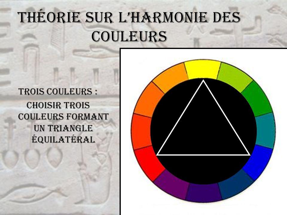 Théorie sur lharmonie des couleurs Trois couleurs : choisir trois couleurs formant un triangle équilatéral