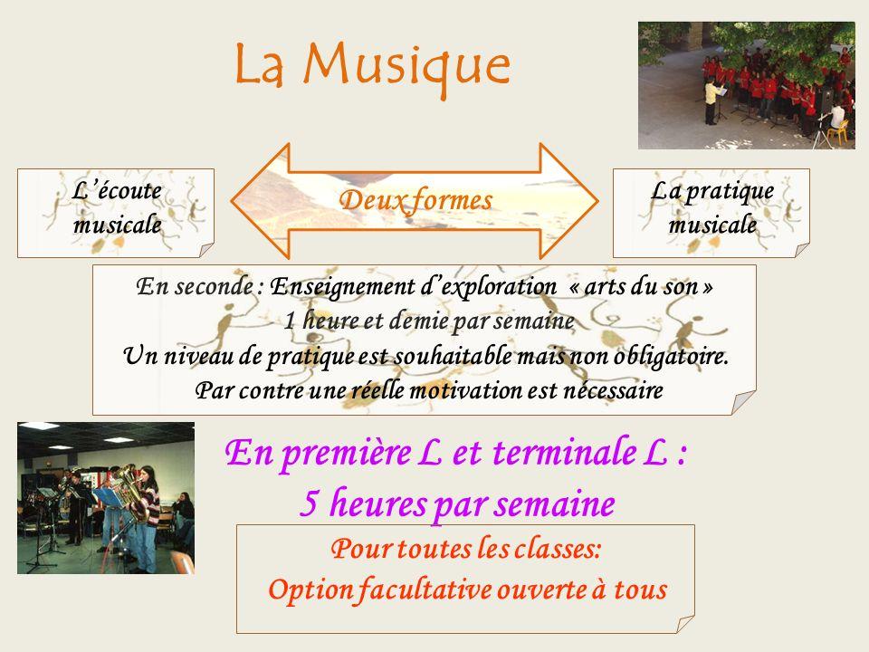 La Musique Deux formes Lécoute musicale En seconde : Enseignement dexploration « arts du son » 1 heure et demie par semaine Un niveau de pratique est