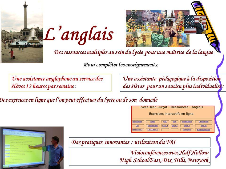 Langlais Des ressources multiples au sein du lycée pour une maîtrise de la langue Pour compléter les enseignements: Une assistance anglophone au servi