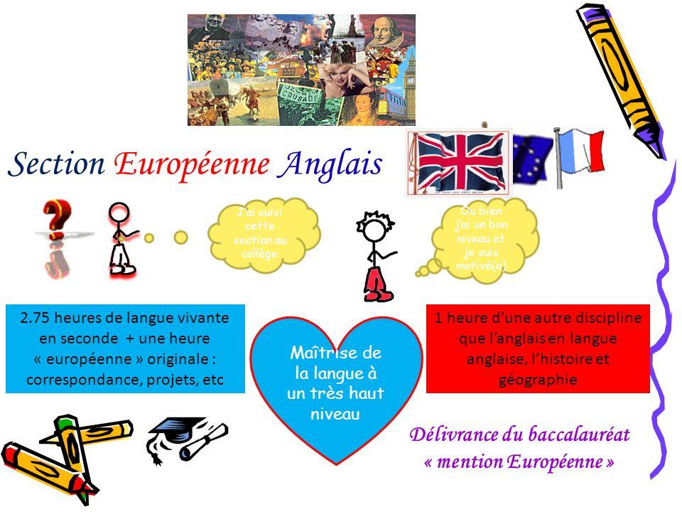 Section Européenne Anglais Maîtrise de la langue à un très haut niveau 2.75 heures de langue vivante en seconde + une heure « européenne » originale :