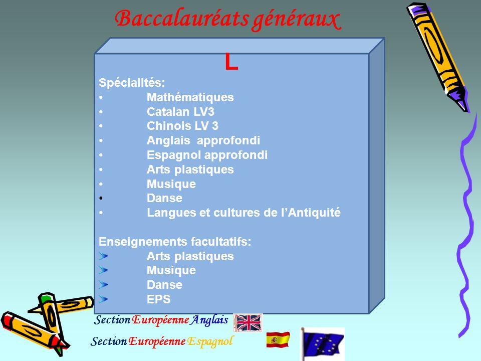 Baccalauréats généraux L Spécialités: Mathématiques Catalan LV3 Chinois LV 3 Anglais approfondi Espagnol approfondi Arts plastiques Musique Danse Lang