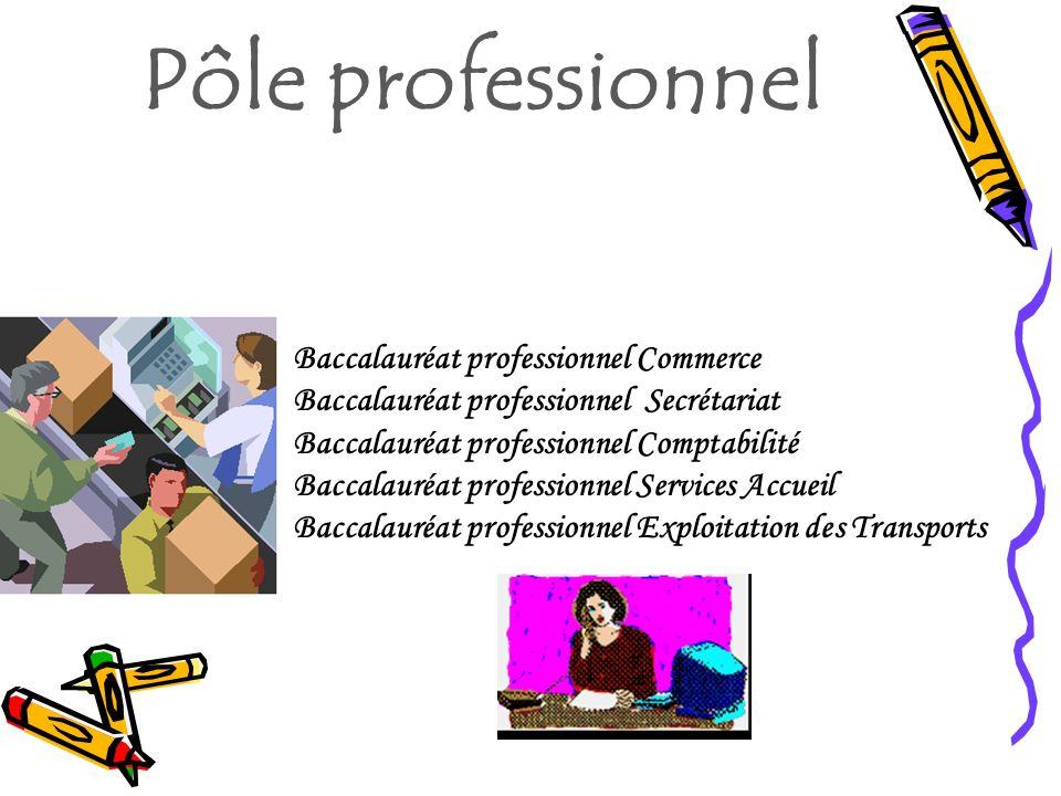 Pôle professionnel Baccalauréat professionnel Commerce Baccalauréat professionnel Secrétariat Baccalauréat professionnel Comptabilité Baccalauréat pro