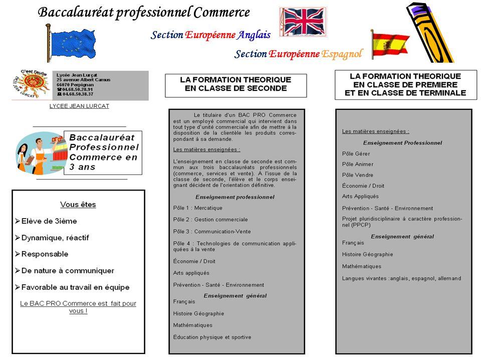 Baccalauréat professionnel Commerce Section Européenne Espagnol Section Européenne Anglais