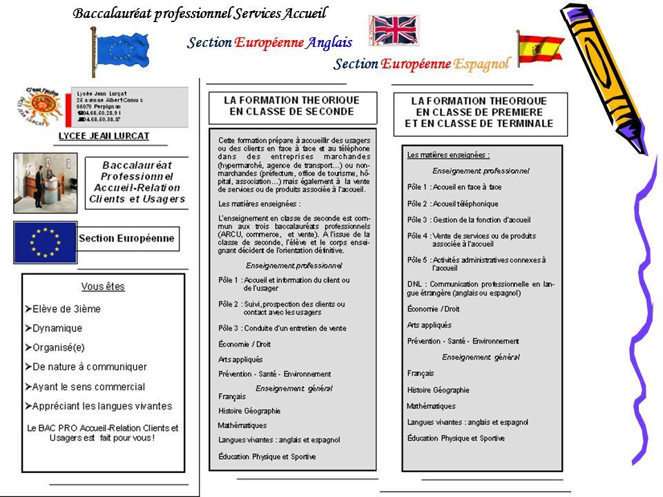 Baccalauréat professionnel Services Accueil Section Européenne Anglais Section Européenne Espagnol