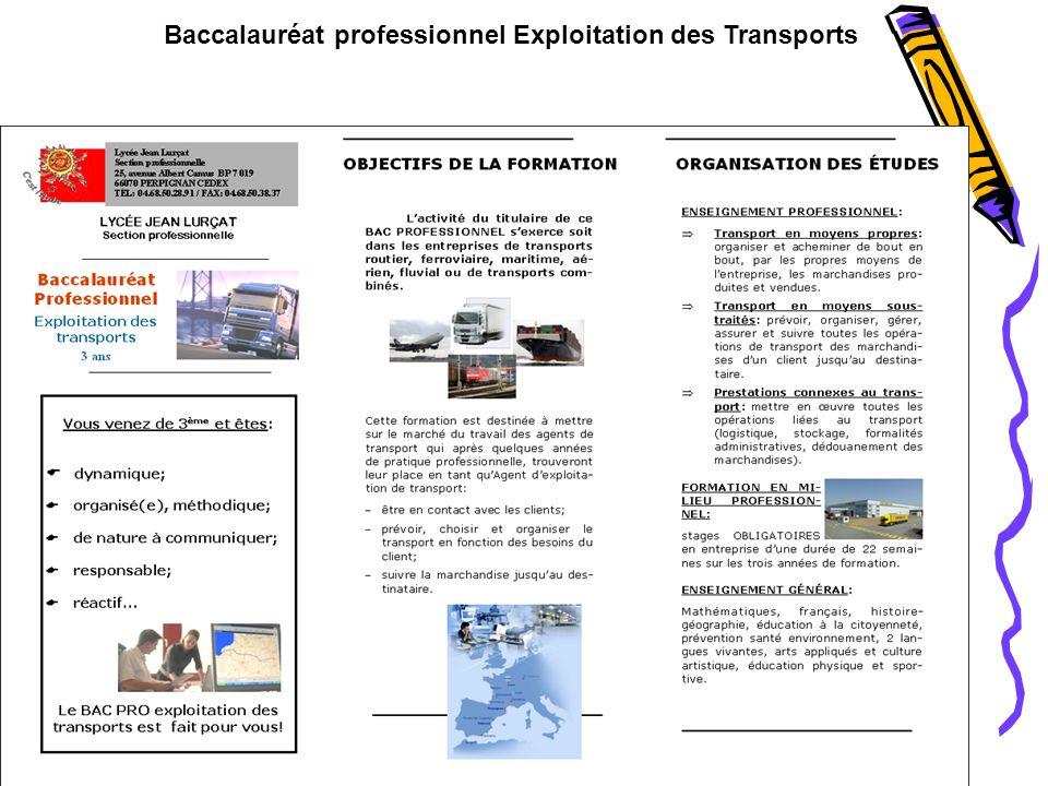 Baccalauréat professionnel Exploitation des Transports