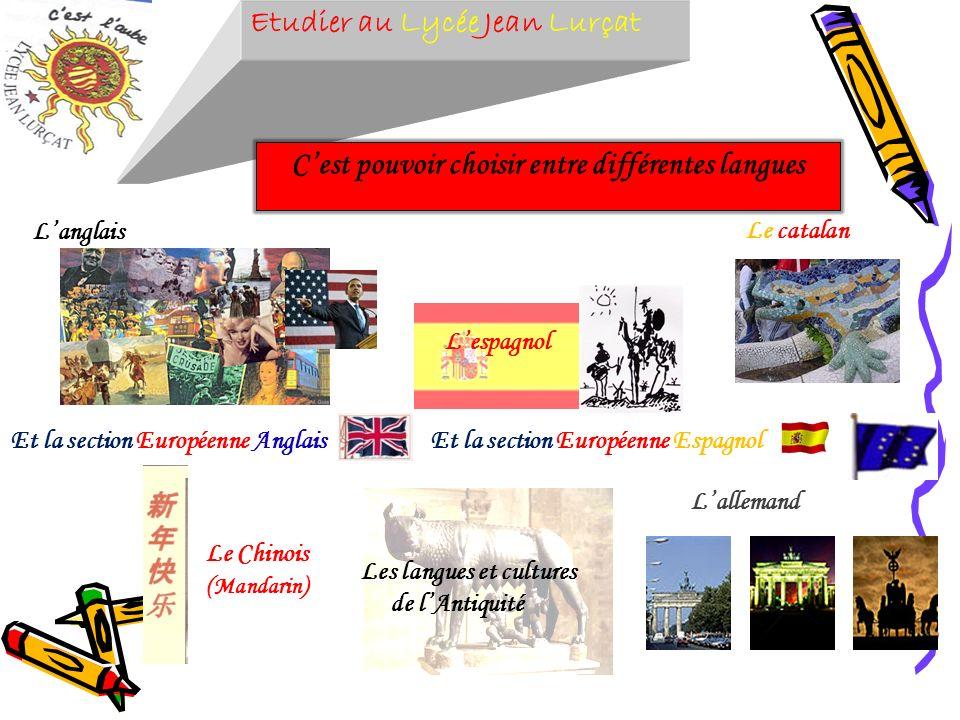 Etudier au Lycée Jean Lurçat Cest pouvoir choisir entre différentes langues Langlais Et la section Européenne Espagnol Le catalan Le Chinois ( Mandari