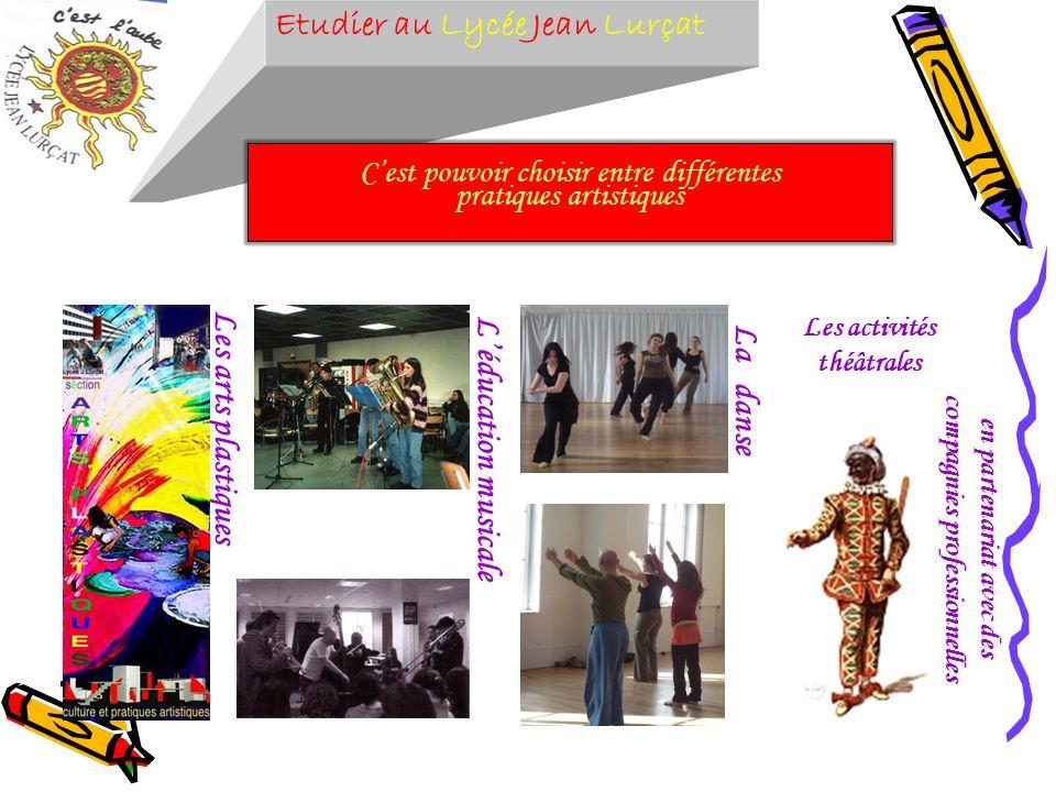 Etudier au Lycée Jean Lurçat Cest pouvoir choisir entre différentes pratiques artistiques Les arts plastiques Léducation musicale La danse Les activit