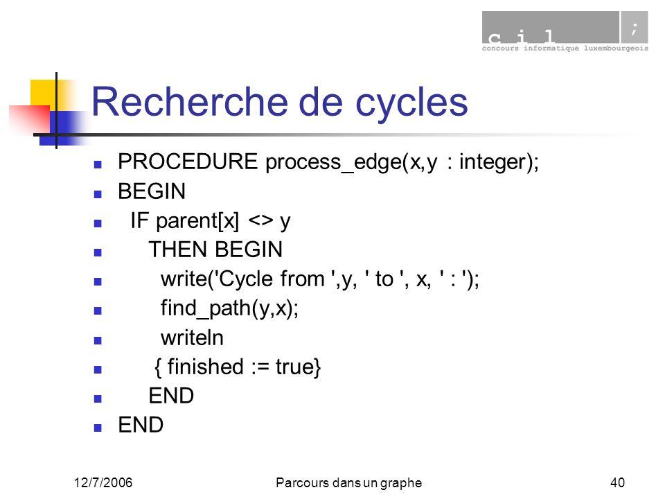 12/7/2006Parcours dans un graphe40 Recherche de cycles PROCEDURE process_edge(x,y : integer); BEGIN IF parent[x] <> y THEN BEGIN write('Cycle from ',y