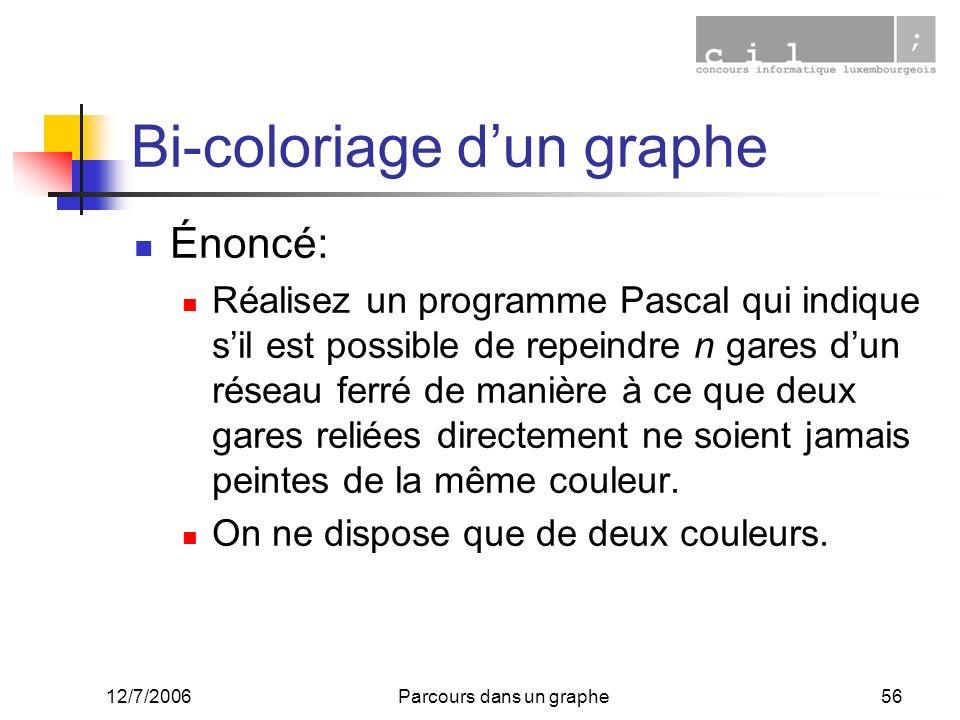 12/7/2006Parcours dans un graphe56 Bi-coloriage dun graphe Énoncé: Réalisez un programme Pascal qui indique sil est possible de repeindre n gares dun