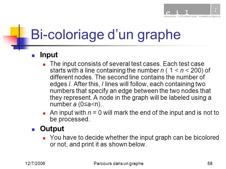 12/7/2006Parcours dans un graphe58 Bi-coloriage dun graphe Input The input consists of several test cases. Each test case starts with a line containin
