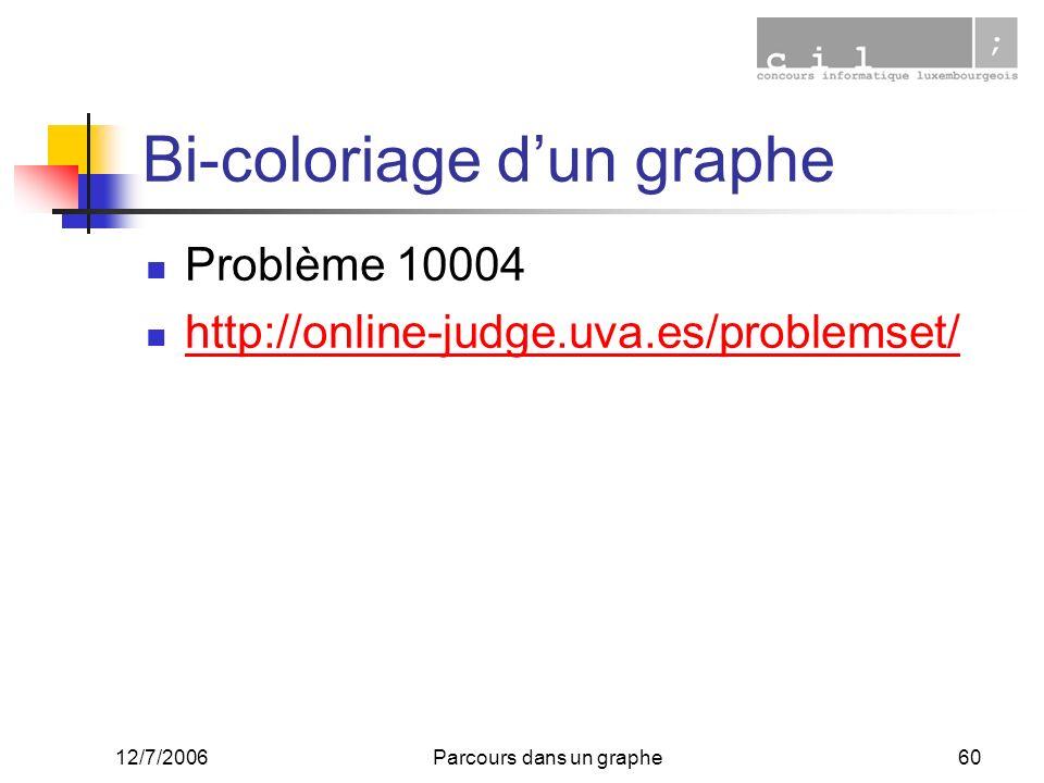12/7/2006Parcours dans un graphe60 Bi-coloriage dun graphe Problème 10004 http://online-judge.uva.es/problemset/
