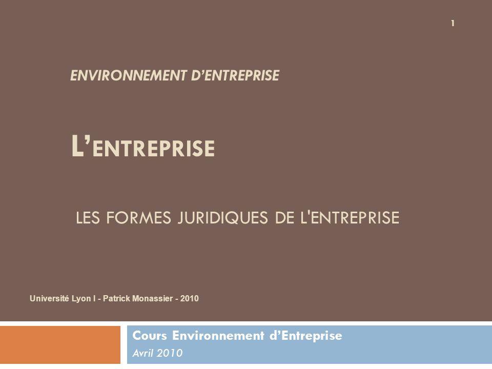 ENVIRONNEMENT DENTREPRISE L ENTREPRISE LES FORMES JURIDIQUES DE L'ENTREPRISE Cours Environnement dEntreprise Avril 2010 Université Lyon I - Patrick Mo