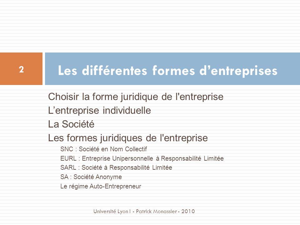 Choisir la forme juridique de l'entreprise Lentreprise individuelle La Société Les formes juridiques de l'entreprise SNC : Société en Nom Collectif EU
