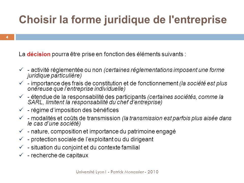 L Entreprise Individuelle 5 Université Lyon I - Patrick Monassier - 2010 Lentreprise individuelle, appelée aussi « entreprise en nom personnel » : Aucun capital minimal nest exigé à la création et les frais de constitution sont réduits.