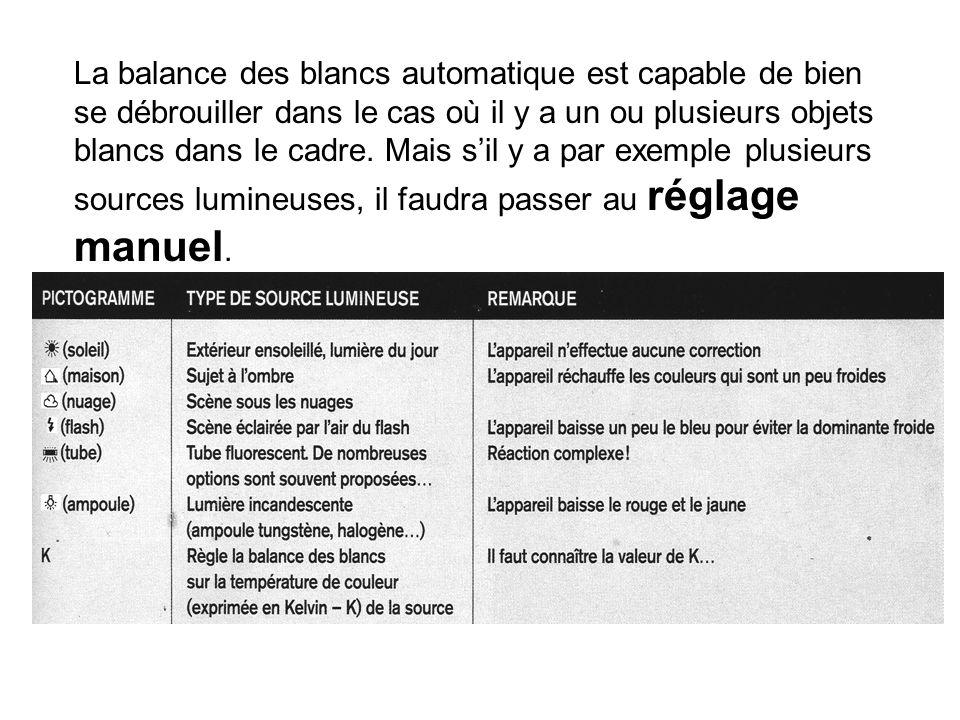 La balance des blancs automatique est capable de bien se débrouiller dans le cas où il y a un ou plusieurs objets blancs dans le cadre. Mais sil y a p