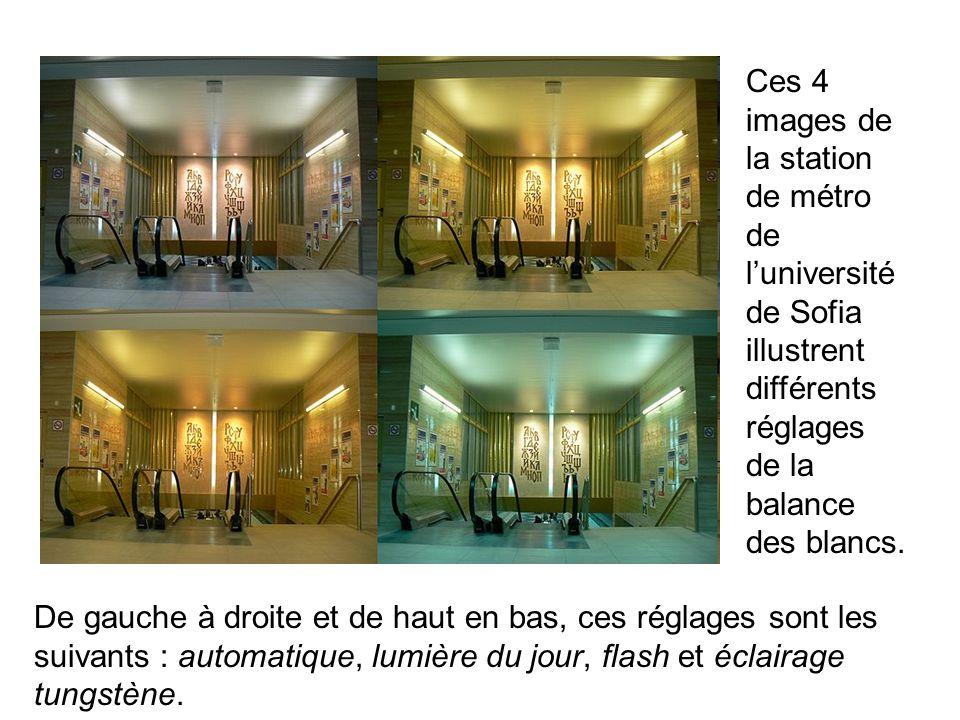 Ces 4 images de la station de métro de luniversité de Sofia illustrent différents réglages de la balance des blancs. De gauche à droite et de haut en