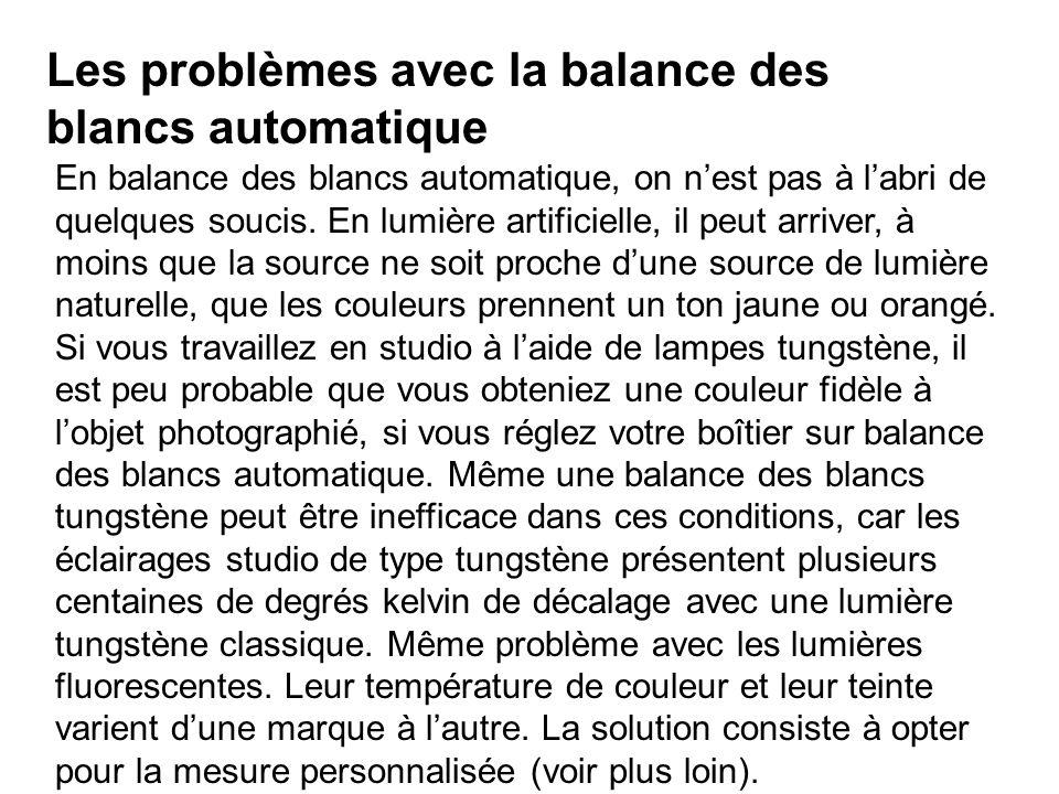 Les problèmes avec la balance des blancs automatique En balance des blancs automatique, on nest pas à labri de quelques soucis. En lumière artificiell