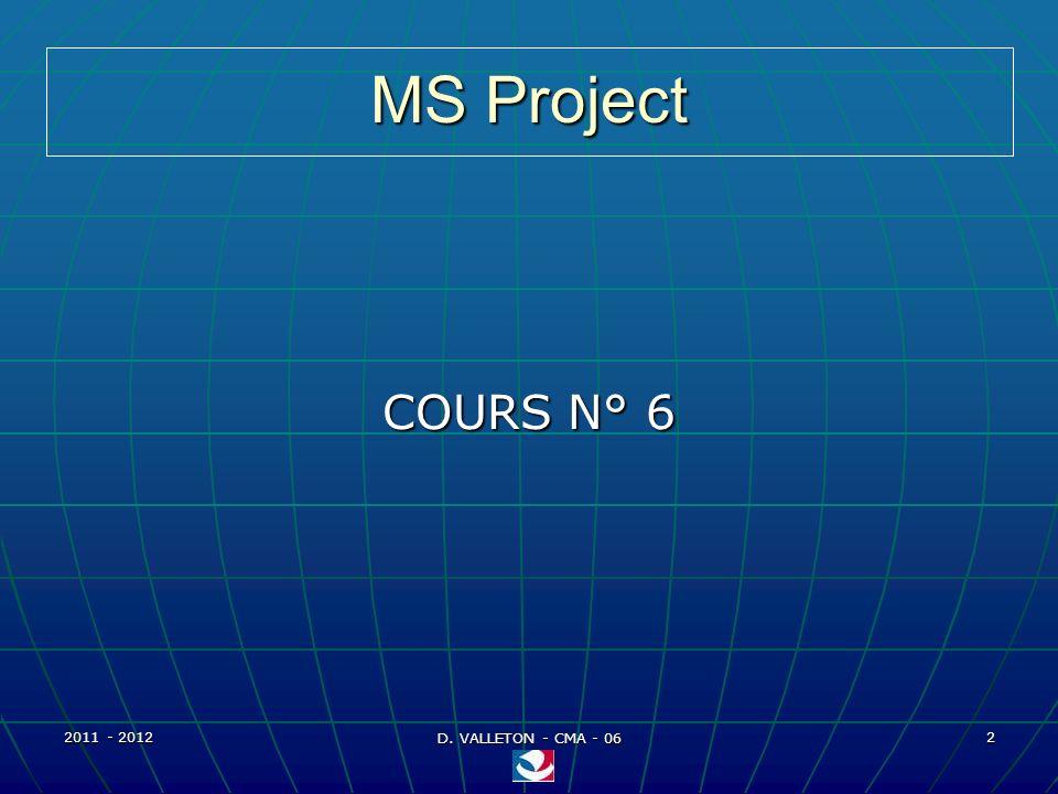 2011 - 2012 D. VALLETON - CMA - 06 53 MS Project – Affectation ressources Exemples daffectation