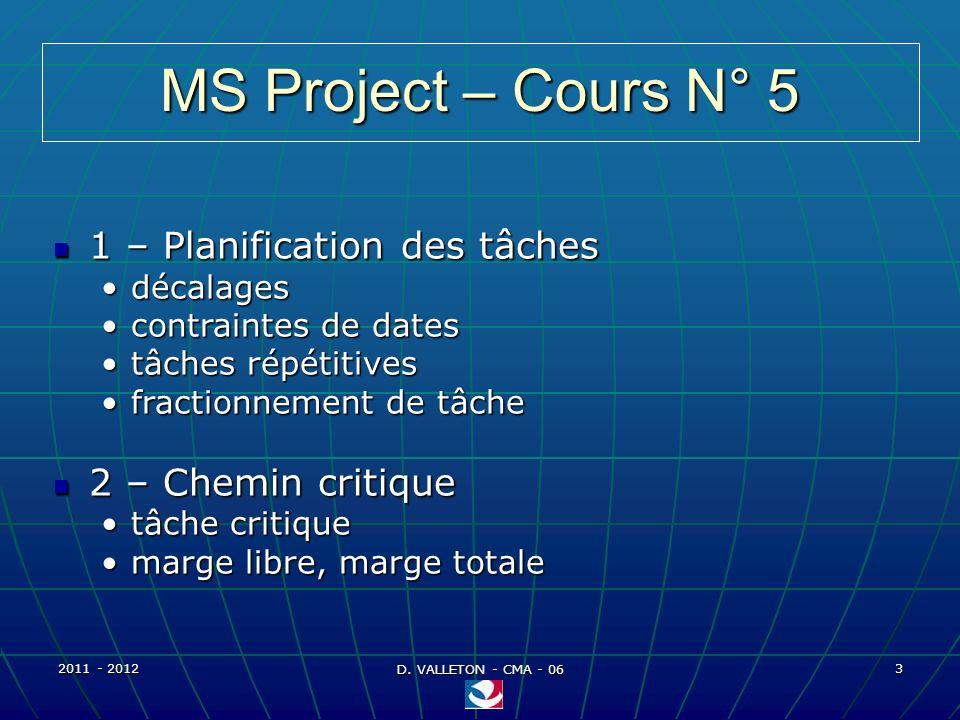 2011 - 2012 D. VALLETON - CMA - 06 54 MS Project – Affectation ressources Exemples daffectation