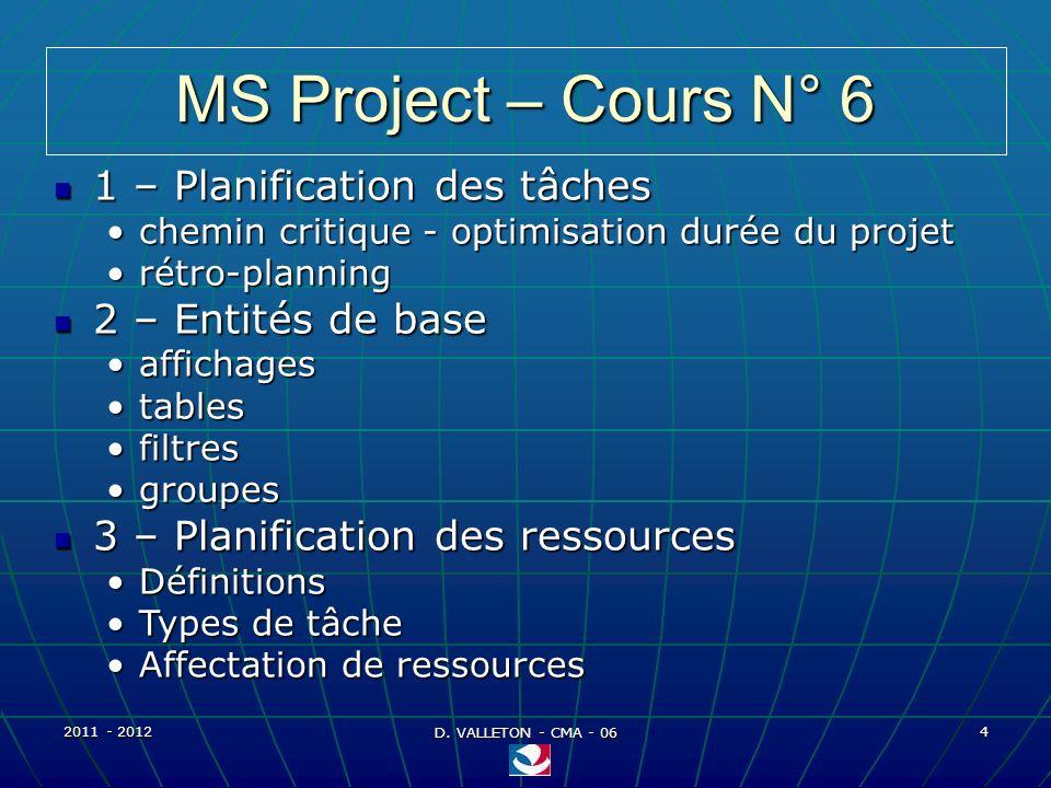 2011 - 2012 D. VALLETON - CMA - 06 45 MS Project – Entités de base Pratique - Résultat